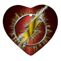 Flash Flashy Logo Heart Ornament (2 Sides) by Onesevenart