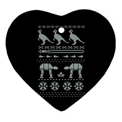 Holiday Party Attire Ugly Christmas Black Background Ornament (heart)  by Onesevenart