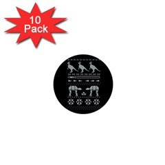 Holiday Party Attire Ugly Christmas Black Background 1  Mini Buttons (10 Pack)  by Onesevenart