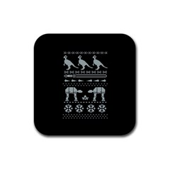 Holiday Party Attire Ugly Christmas Black Background Rubber Coaster (square)  by Onesevenart