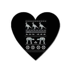 Holiday Party Attire Ugly Christmas Black Background Heart Magnet by Onesevenart