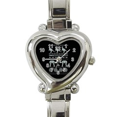 Holiday Party Attire Ugly Christmas Black Background Heart Italian Charm Watch by Onesevenart