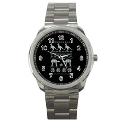 Holiday Party Attire Ugly Christmas Black Background Sport Metal Watch by Onesevenart