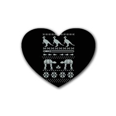 Holiday Party Attire Ugly Christmas Black Background Heart Coaster (4 Pack)  by Onesevenart