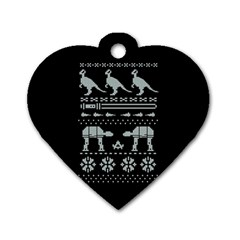 Holiday Party Attire Ugly Christmas Black Background Dog Tag Heart (one Side) by Onesevenart