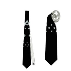 Holiday Party Attire Ugly Christmas Black Background Neckties (one Side)  by Onesevenart