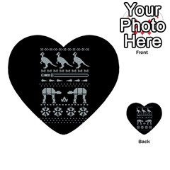 Holiday Party Attire Ugly Christmas Black Background Multi Purpose Cards (heart)  by Onesevenart