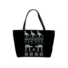 Holiday Party Attire Ugly Christmas Black Background Shoulder Handbags by Onesevenart