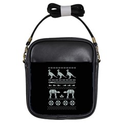 Holiday Party Attire Ugly Christmas Black Background Girls Sling Bags by Onesevenart