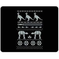 Holiday Party Attire Ugly Christmas Black Background Fleece Blanket (medium)  by Onesevenart