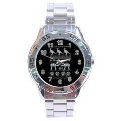 Holiday Party Attire Ugly Christmas Black Background Stainless Steel Analogue Watch by Onesevenart