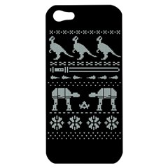 Holiday Party Attire Ugly Christmas Black Background Apple Iphone 5 Hardshell Case by Onesevenart