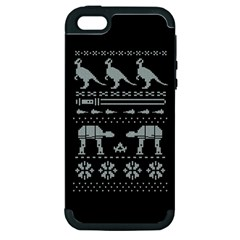 Holiday Party Attire Ugly Christmas Black Background Apple Iphone 5 Hardshell Case (pc+silicone) by Onesevenart