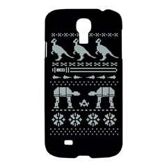 Holiday Party Attire Ugly Christmas Black Background Samsung Galaxy S4 I9500/i9505 Hardshell Case by Onesevenart
