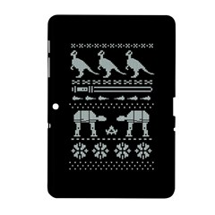 Holiday Party Attire Ugly Christmas Black Background Samsung Galaxy Tab 2 (10 1 ) P5100 Hardshell Case  by Onesevenart