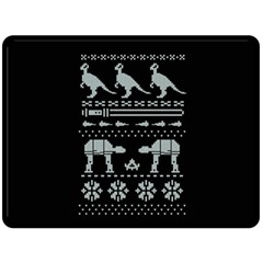 Holiday Party Attire Ugly Christmas Black Background Double Sided Fleece Blanket (large)  by Onesevenart