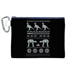 Holiday Party Attire Ugly Christmas Black Background Canvas Cosmetic Bag (xl) by Onesevenart