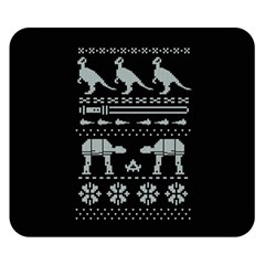 Holiday Party Attire Ugly Christmas Black Background Double Sided Flano Blanket (small)  by Onesevenart