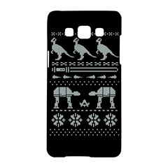 Holiday Party Attire Ugly Christmas Black Background Samsung Galaxy A5 Hardshell Case  by Onesevenart