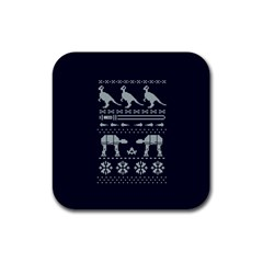 Holiday Party Attire Ugly Christmas Blue Background Rubber Square Coaster (4 Pack)  by Onesevenart