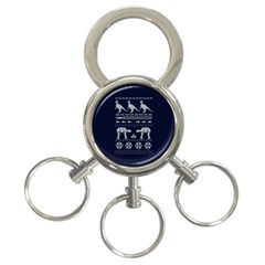 Holiday Party Attire Ugly Christmas Blue Background 3 Ring Key Chains by Onesevenart