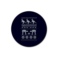Holiday Party Attire Ugly Christmas Blue Background Rubber Coaster (round)  by Onesevenart