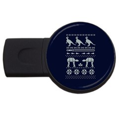 Holiday Party Attire Ugly Christmas Blue Background Usb Flash Drive Round (2 Gb)  by Onesevenart