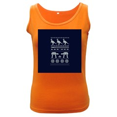 Holiday Party Attire Ugly Christmas Blue Background Women s Dark Tank Top by Onesevenart