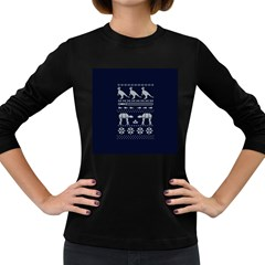 Holiday Party Attire Ugly Christmas Blue Background Women s Long Sleeve Dark T Shirts by Onesevenart