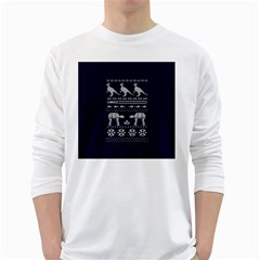 Holiday Party Attire Ugly Christmas Blue Background White Long Sleeve T Shirts by Onesevenart