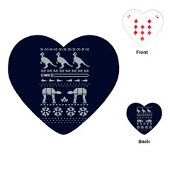 Holiday Party Attire Ugly Christmas Blue Background Playing Cards (heart)  by Onesevenart