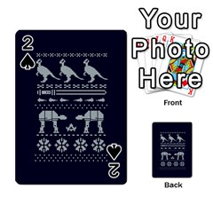 Holiday Party Attire Ugly Christmas Blue Background Playing Cards 54 Designs  by Onesevenart