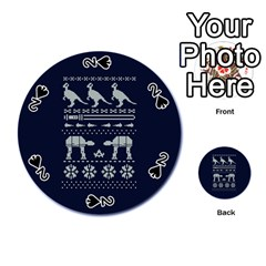 Holiday Party Attire Ugly Christmas Blue Background Playing Cards 54 (round)  by Onesevenart