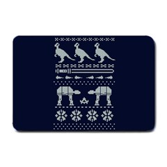 Holiday Party Attire Ugly Christmas Blue Background Small Doormat