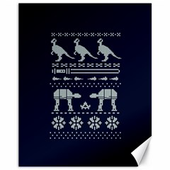 Holiday Party Attire Ugly Christmas Blue Background Canvas 11  X 14   by Onesevenart