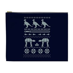 Holiday Party Attire Ugly Christmas Blue Background Cosmetic Bag (xl) by Onesevenart