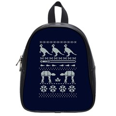 Holiday Party Attire Ugly Christmas Blue Background School Bags (small)  by Onesevenart
