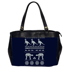 Holiday Party Attire Ugly Christmas Blue Background Office Handbags (2 Sides)  by Onesevenart