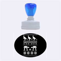 Holiday Party Attire Ugly Christmas Blue Background Rubber Oval Stamps by Onesevenart