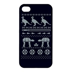 Holiday Party Attire Ugly Christmas Blue Background Apple Iphone 4/4s Hardshell Case by Onesevenart