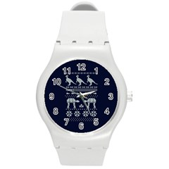 Holiday Party Attire Ugly Christmas Blue Background Round Plastic Sport Watch (m) by Onesevenart