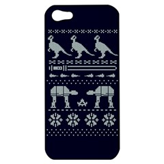 Holiday Party Attire Ugly Christmas Blue Background Apple Iphone 5 Hardshell Case by Onesevenart