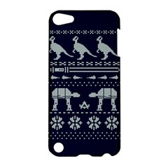Holiday Party Attire Ugly Christmas Blue Background Apple Ipod Touch 5 Hardshell Case by Onesevenart
