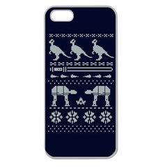 Holiday Party Attire Ugly Christmas Blue Background Apple Seamless Iphone 5 Case (clear) by Onesevenart
