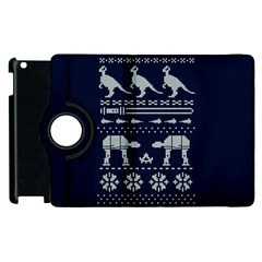 Holiday Party Attire Ugly Christmas Blue Background Apple Ipad 2 Flip 360 Case by Onesevenart