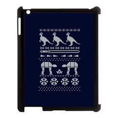 Holiday Party Attire Ugly Christmas Blue Background Apple Ipad 3/4 Case (black) by Onesevenart