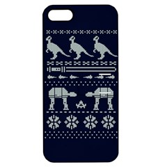 Holiday Party Attire Ugly Christmas Blue Background Apple Iphone 5 Hardshell Case With Stand by Onesevenart