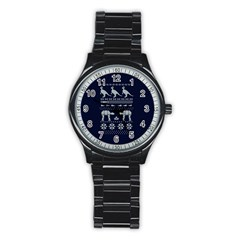 Holiday Party Attire Ugly Christmas Blue Background Stainless Steel Round Watch by Onesevenart