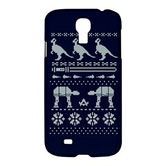 Holiday Party Attire Ugly Christmas Blue Background Samsung Galaxy S4 I9500/i9505 Hardshell Case by Onesevenart