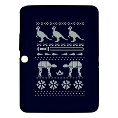 Holiday Party Attire Ugly Christmas Blue Background Samsung Galaxy Tab 3 (10 1 ) P5200 Hardshell Case  by Onesevenart